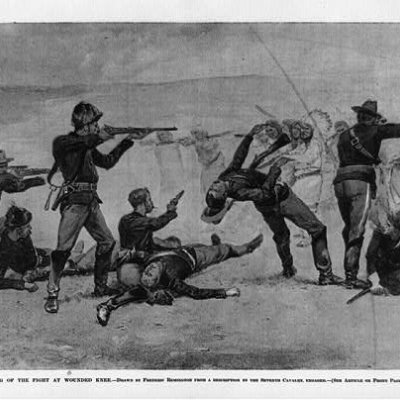 Image of the opening of the fight at Wounded Knee.