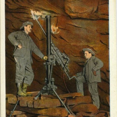 Postcard showing two men operating a pneumatic drill at the Homestake Mine in Lead, S.D., 1912.
