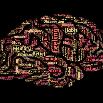 Words in the shape of a brain associated to pscyhology - feeling, thought, story, experience, meaning, memory, longing, observation, belief, history, demeanor, sensation, ignorance, intuition, instinct, self-image, reflex.