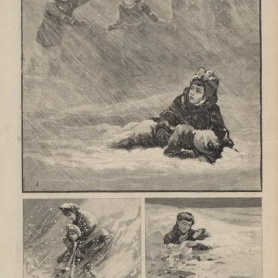 "Black and white print from Frank Leslie's Illustrated Newspaper titled "" Scenes and Incidents of the Recent Terrible Blizzard in Dakota"". There are 3 scenes on the page. The images are: 1. A Rescue Party at Huron, Bund Together by Ropes Searching For Missing Children. 2. A SchoolMistress Compels a Pupil to Walk All Night to Prevent Freezing. 3. Another Brave Teacher Shelters One of Her Pupils From the Storm. Frank Leslie's Illustrated Newspaper January 28, 1888, page 401"