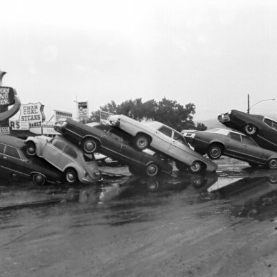 Picture of Car Pile Up During Black Hills Flood of 1972