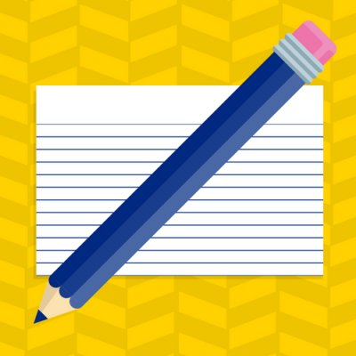 """Miscellaneous Classroom Resources Link. Image of pencil and note card."""