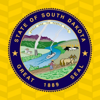 """Button for South Dakota Online Archives. Image of South Dakota State Seal"""
