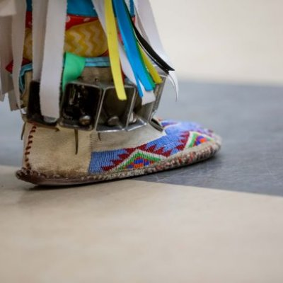 Foot of a dancer at the 2018 Wacipi.