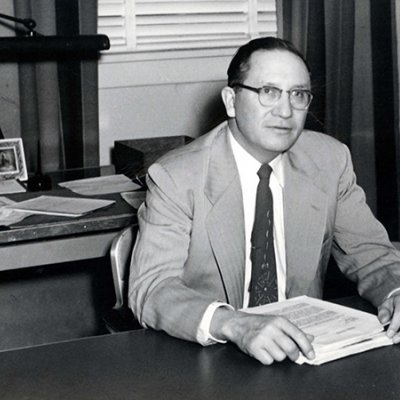 Ben Reifel in his Bureau of Indian Affairs office within the Pine Ridge Reservation, 1954