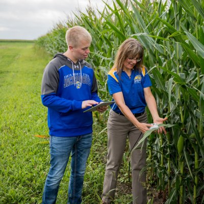 Student and teacher looking at corn and using a tablet.
