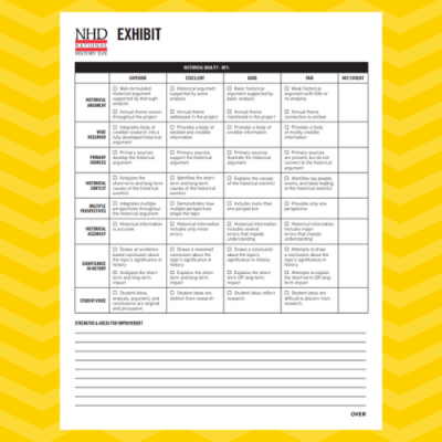 Exhibit Category Judge's Evaluation Rubric Sheet