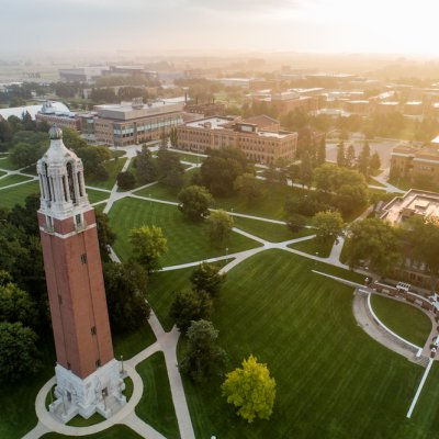 Areial view of campus with the Campanile on left.