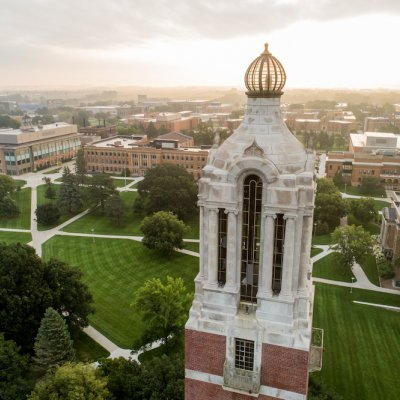 Aerial photo of campus with Campanile on right.