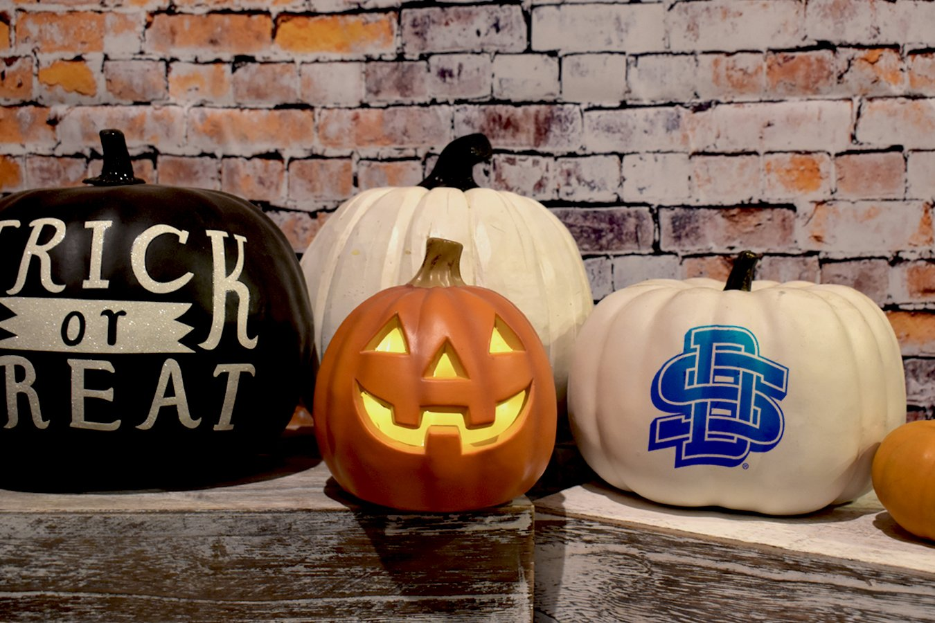 Five Halloween Pumpkins: One says Trick or Treat, One has the SD logo and one has a lit, carved face