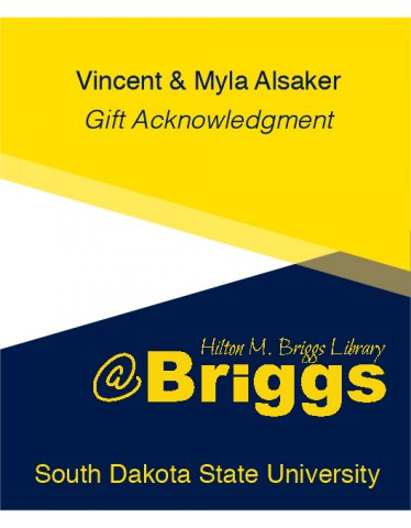 Vincent and Myla Alsaker Gift Acknowledgment bookplate, Briggs Library, SDSU