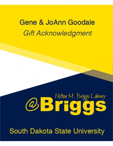 Gene and JoAnn Goodale Gift Acknowledgment bookplate, Briggs Library, SDSU