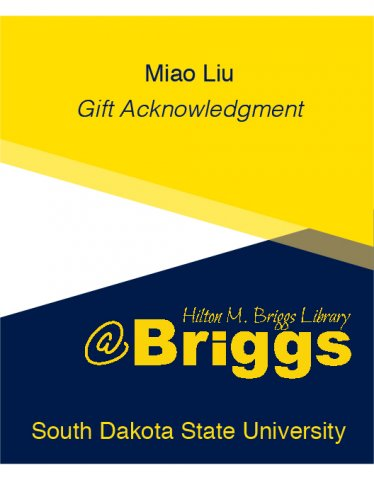 Miao Liu Gift Acknowledgment bookplate, Briggs Library, SDSU