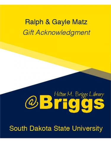 Ralph and Gayle Matz Gift Acknowledgment bookplate, Briggs Library, SDSU