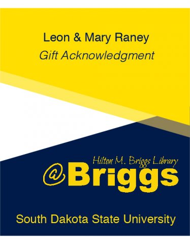 Leon and Mary Raney Gift Acknowledgment bookplate, Briggs Library, SDSU