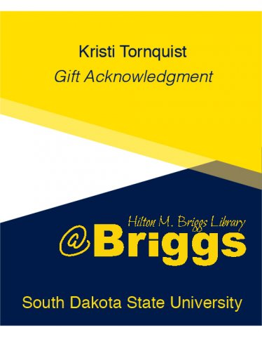 Kristi Tornquist Gift Acknowledgment bookplate, Briggs Library, SDSU