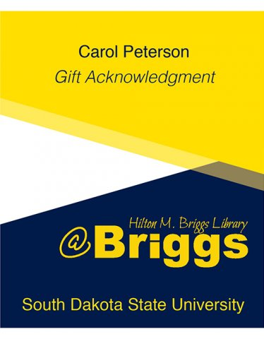 Carol Peterson Gift Acknowledgment bookplate, Briggs Library, SDSU