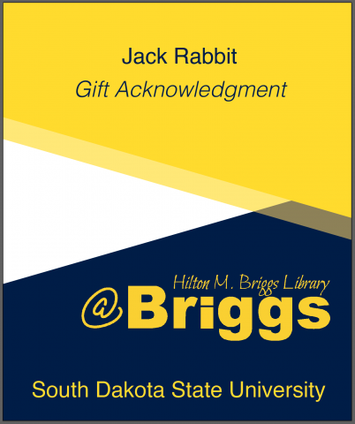 Digital bookplate example: Jack Rabbit Gift Acknowledgment, Briggs Library, SDSU