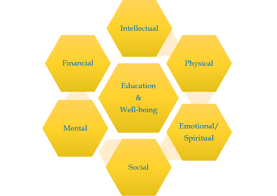 Hexagon Relational Graph with Education and Well-being centered around Intellectual, Physical, Emotional/Spiritual, Social, Mental, and Financial focuses