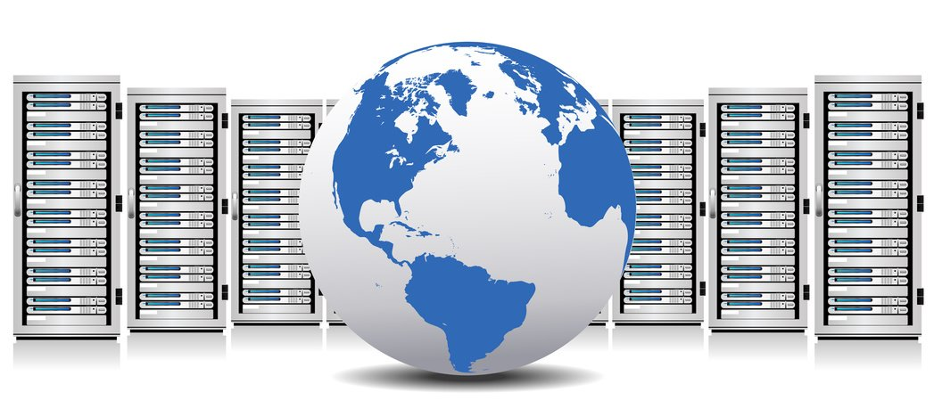 Stock image of a globe with multiple server racks behind it