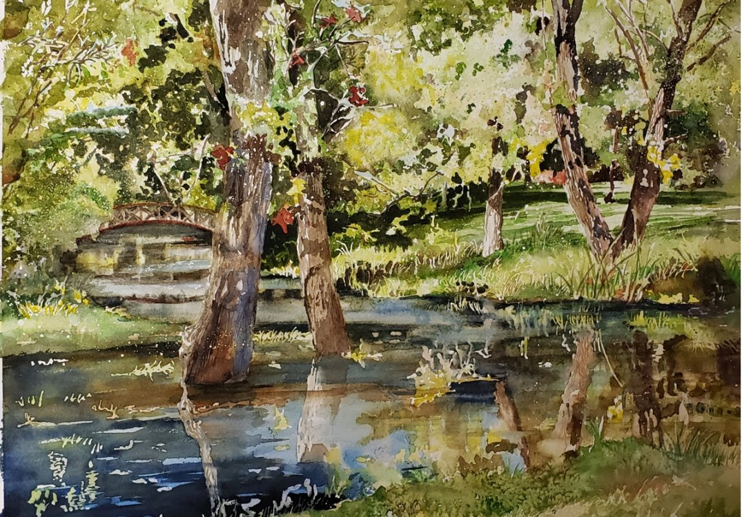 Barbara Sparks, Flood Waters at Rotary Park, 2018, watercolor