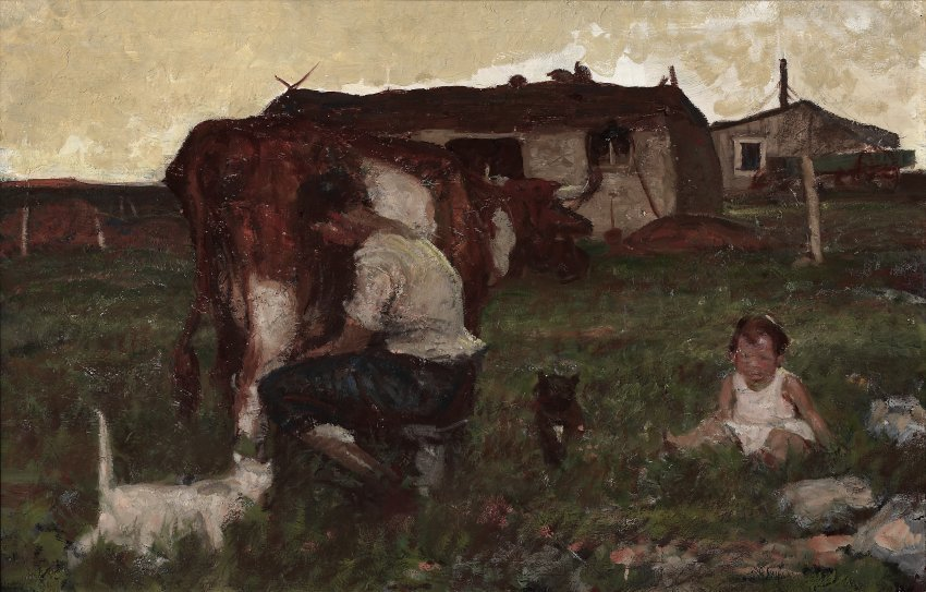 untitled (woman milking a cow)