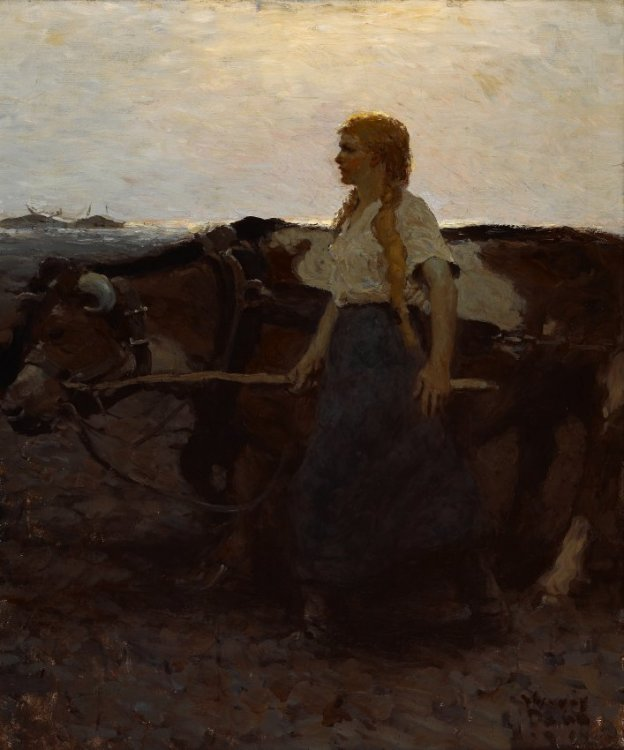 Harvey Dunn, Girl Driving Oxen, 1914
