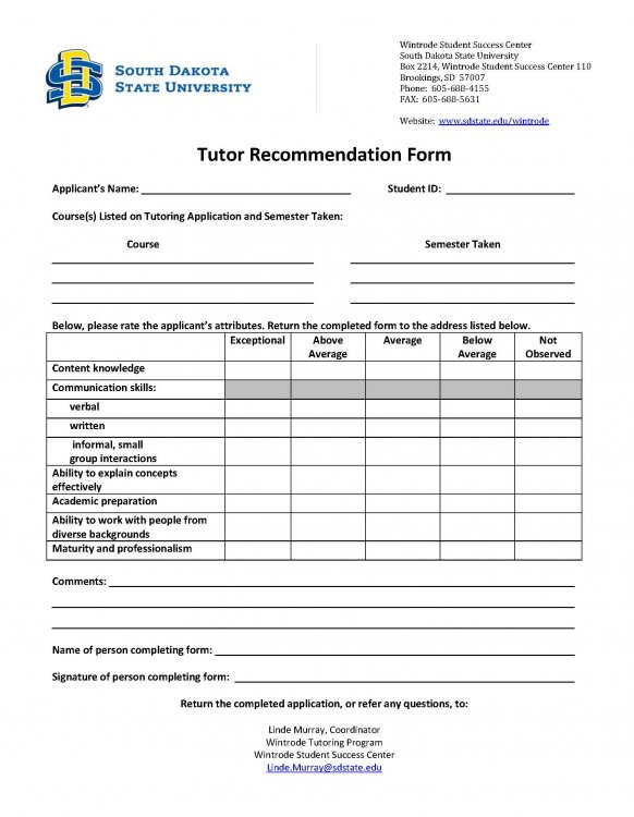 picture of Tutor Reference Form