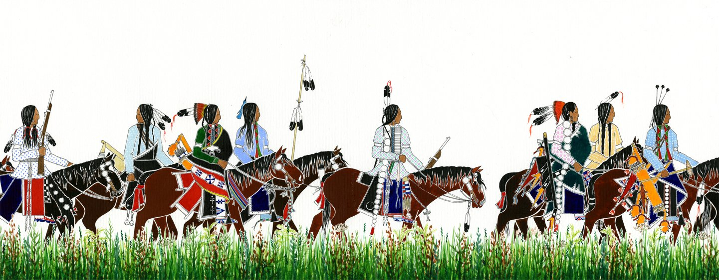 "Paul Goble, illustration from ""Death of the Iron Horse"" (Native Americans on horses)"