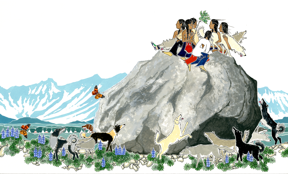 "Paul Goble, illustration from ""The Lost Children"" (Native Americans on top of a large rock overlooking mountains)"