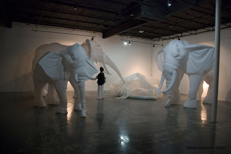 "Billie Grace Lynn: ""White Elephants"" -two large white inflated elephants in a gallery"