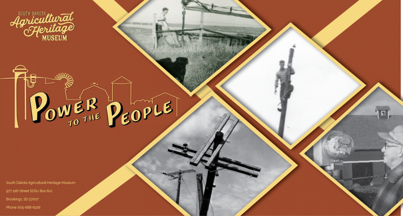 Power to the People logo with black and white pictures of electricians and farmers