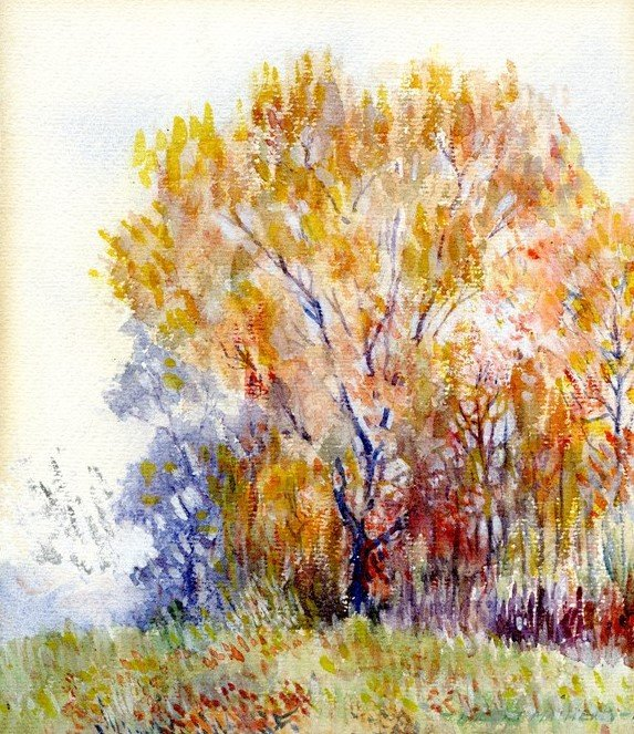 Hubert Mathieu, watercolor of a tree