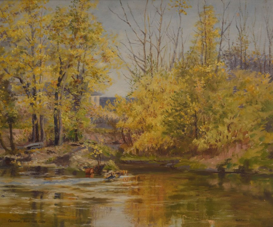 "Grace Ann French, ""October Blue and Gold"" autumn landscape painting"