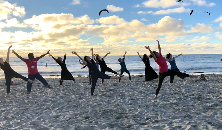 Dancers on the beach with seagulls.
