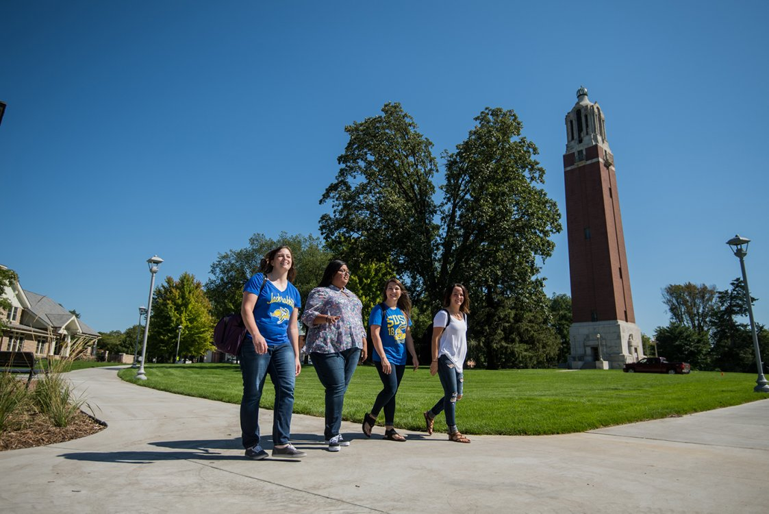 Students walking passed Campanile