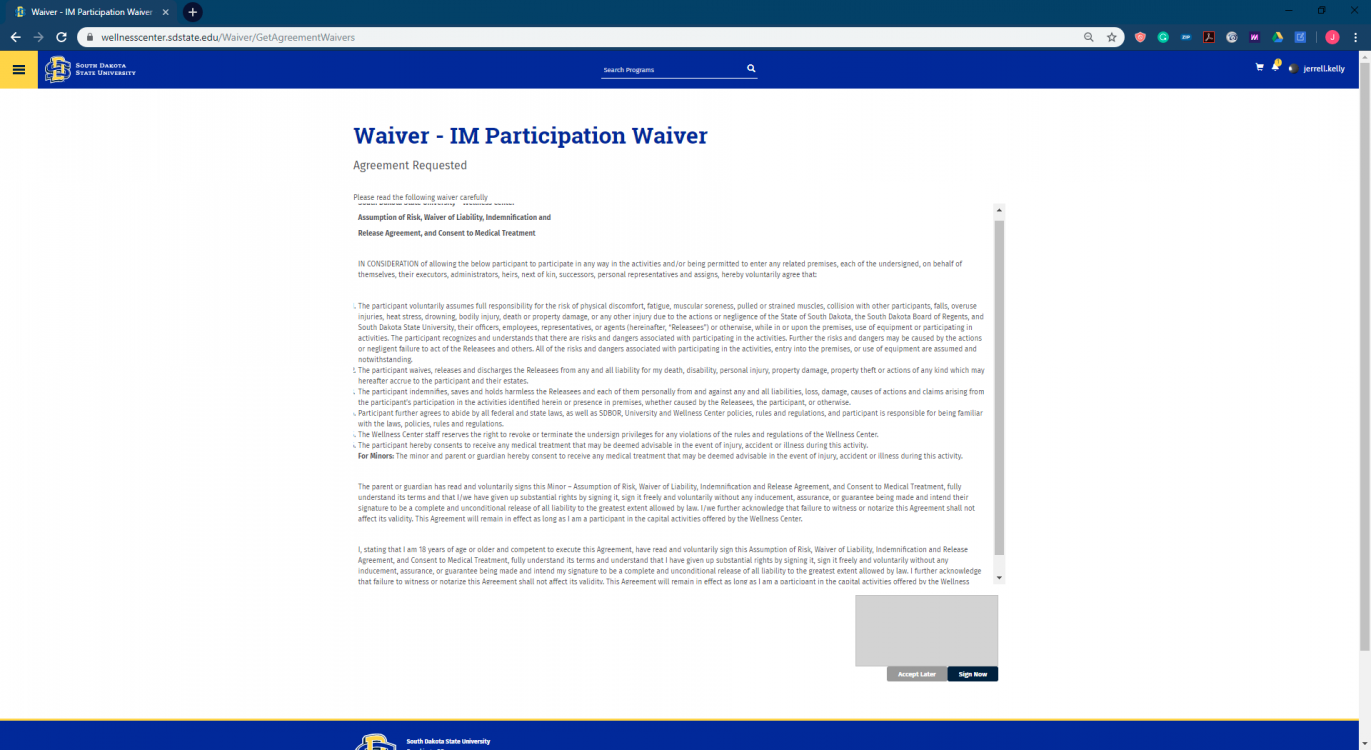 IM Waiver Page