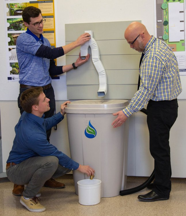 Heller and Miller test rain barrel with Bergstrom
