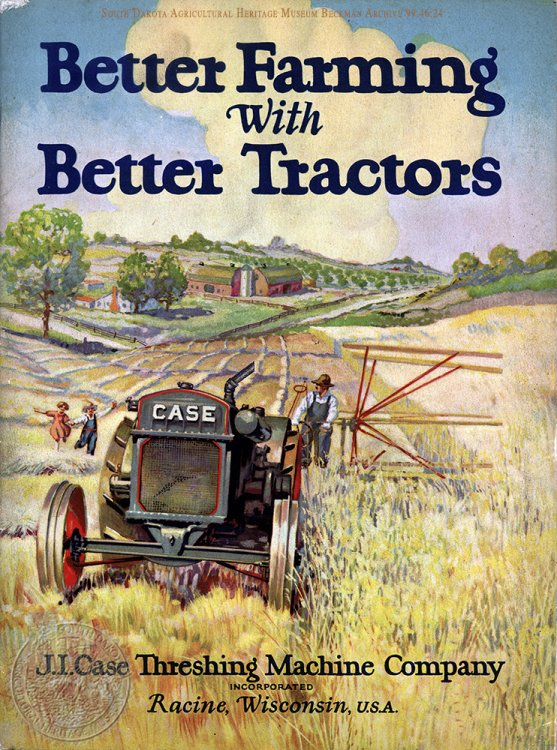 "Cover of ""Better Farming with Better Tractors"" J. I. Case Threshing Machine Co. manual from the Beckman Archive 1924."