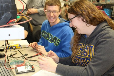 Electronics Engineering Technology students working in the classroom