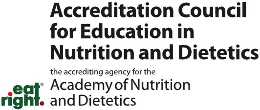eat right. Accreditation Council for Education in Nutrition and Dietetics the accrediting agency for the Academy of Nutriction and Dietetics