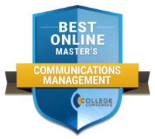 Online master's in communications badge
