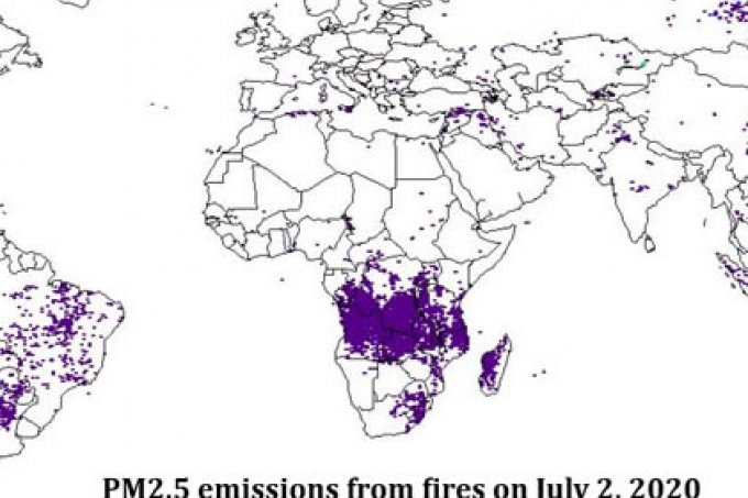 section of fire emissions burning map