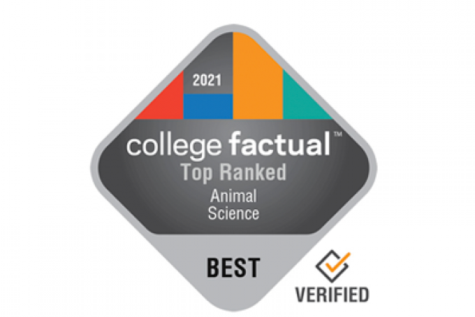 2021 College Factual Top Ranked Animal Science Logo. Best. Verified.