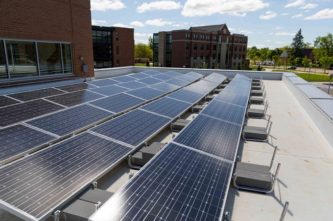 solar panels on the American Indian Student Center