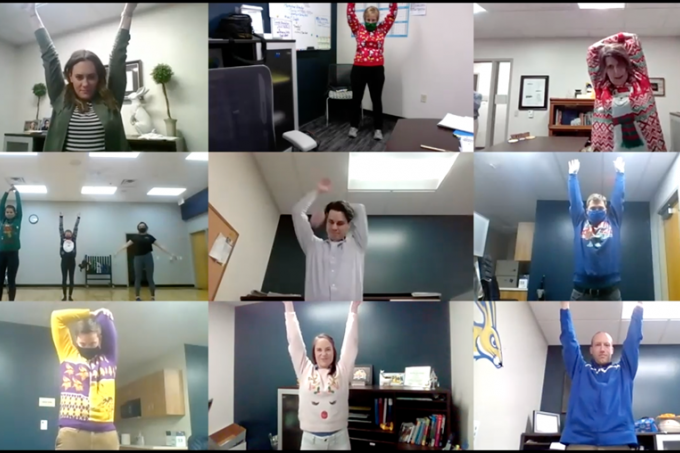 The Miller Wellness Center staff participants in a virtual group stretching session over Zoom.