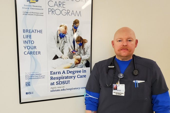 Brent Aukerman, a respiratory care program student at South Dakota State University and a student intern at Monument Health in Rapid City, is one of four students at the program's Rapid City site to gain a temporary respiratory therapist license to help out during the COVID-19 pandemic.