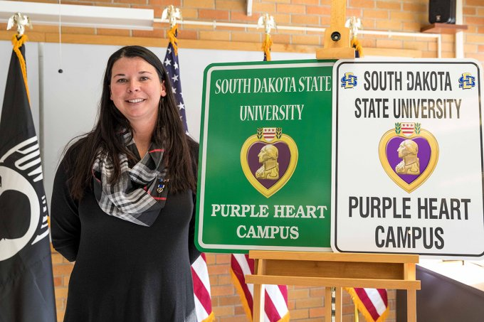 Connie Johnson, shown at the 2018 Purple Heart Campus announcement