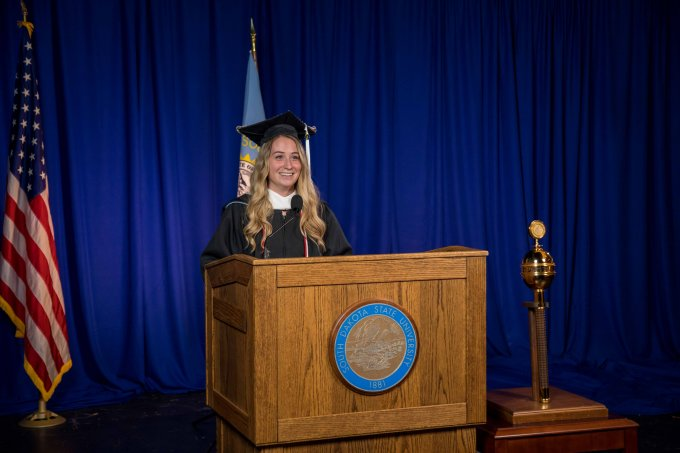 Amber Alvey was the graduate commencement speaker
