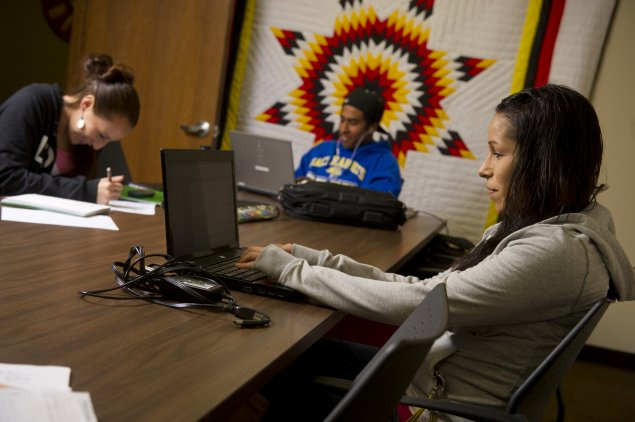 American Indian Student on a computer